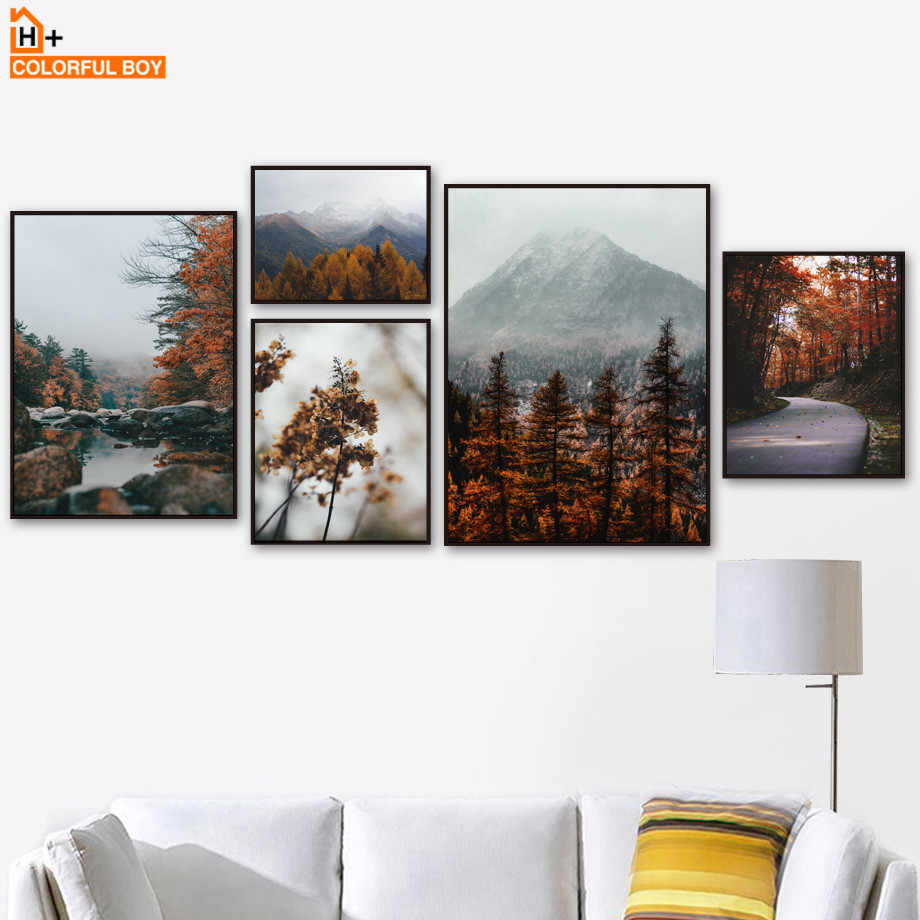 Mountain Forest Maple Leaf Lake Landscape Wall Art Canvas Painting Nordic Posters And Prints Wall Pictures For Living Room Decor