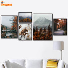 Mountain Forest Maple Leaf Lake Landscape Wall Art Canvas Painting Nordic Posters And Prints Pictures For Living Room Decor