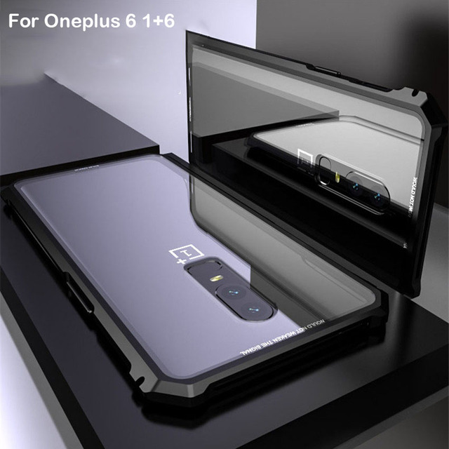 new style a56ff ba8da US $13.84 29% OFF|OnePlus 6 Case Aircraft Metal Bumper Screw Protective  Phone Case For One plus 6 Oneplus6 With Transparent Back Tempered Glass-in  ...