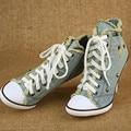 Marca de Design de Lazer alta-sapatas de lona Primavera Outono Mulheres Sapatos de salto alto Azul denim de alta-ajuda sapatos tamanho 34-42 bombas ayakkab