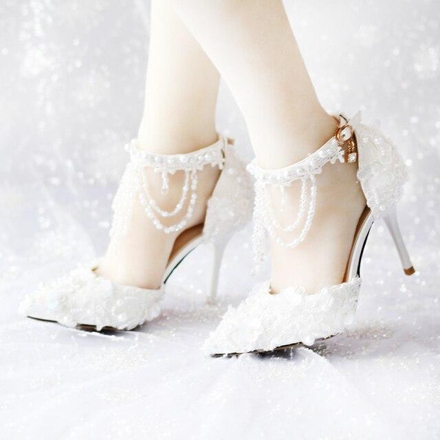 5679f23a2 2016 Nueva Moda Zapatos de Mujer de Cristal Sandalias de Novia Blanco de La Boda  Zapatos