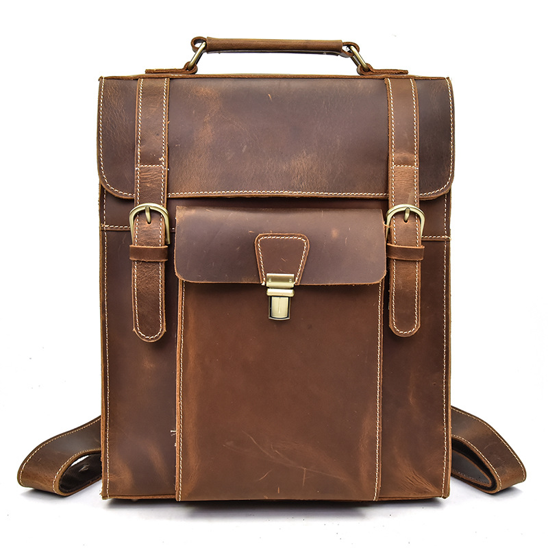 YUPINXUAN Europe Luxury Genuine Leather Backpacks for Men Cow Leather School Bags for 14 Laptop Vintage