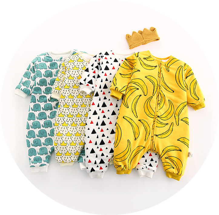Retail 1 Piece Newborn Baby Rompers Soft Cotton Double Zipper 4 Colors Banana Crown Infant Baby Toddler Clothes Long Jumpsuits