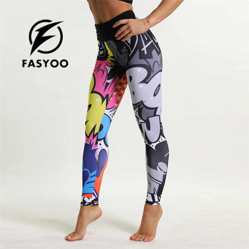 d65b5a528a23e Cartoon Print Girl Yoga Pants Jogging Teenager Fitness Leggings Colorful  Kids Sports Trousers pant High Waist