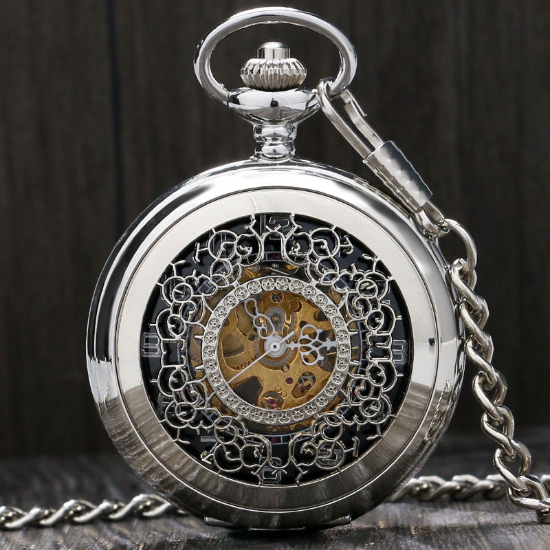 Stylish Beautiful Silver Engraving Grilles Hand Winding Mechanical Pocket Watch Men Women Pendnat With Fob Chain Birthday Gifts