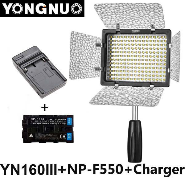 Yongnuo YN160 III 3200-5500K CRI95 160 LED Video Light + 2300mAh NP-F550 battery for Canon Nikon Sony DSLR & Camcorder