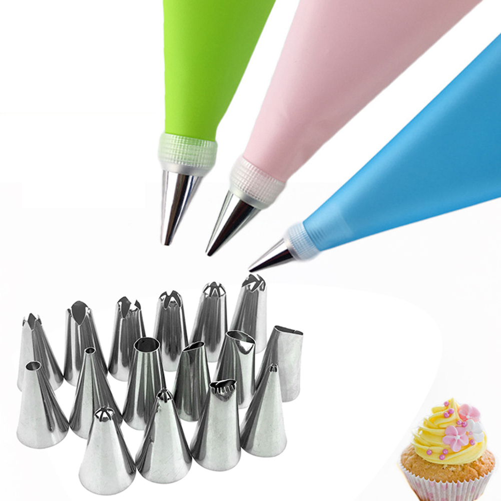 18Pcs DIY Silicone Icing Frosting Cream Piping Bag Nozzle Pastry Cake Decor Tool