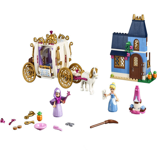 Disney Toys Frozen Princess Castle CinderellaS Enchanted Fairy Godmother Cinderella Building Blocks Birthday Gift For Children