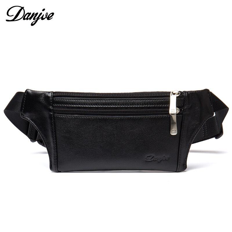 DANJUE Genuine Leather Belt Bag For Men Black Fashion Real Leather Waist Bag  Fanny Pack Male Travel Zipper Money Belt