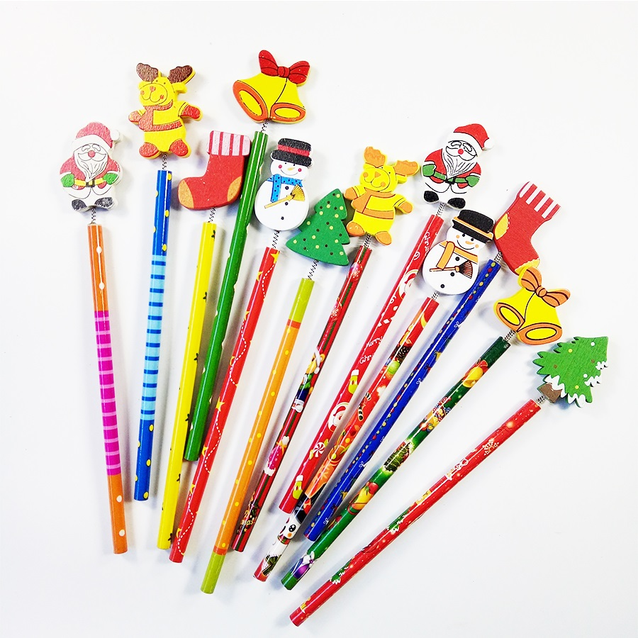 60 Pcs/lot Merry Christmas Shape Wooden Pencils Gift For Children Santa Claus Cartoon Wood Office Stationery School