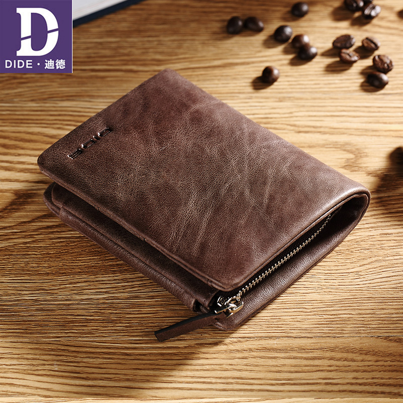 DIDE 2018 Summer Style Men's wallet Bag Casual genuine leather wallets male purse Vintage Small Card Holder Coin Purse dalfr genuine leather mens wallets card holder male short wallet 6 inch cowhide vintage style coin purse small wallet
