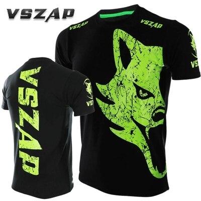 VSZAP  Fitness Tattoo Wolf Pattern Sports Sweater Short Sleeve Boxing Tiger Muay Thai