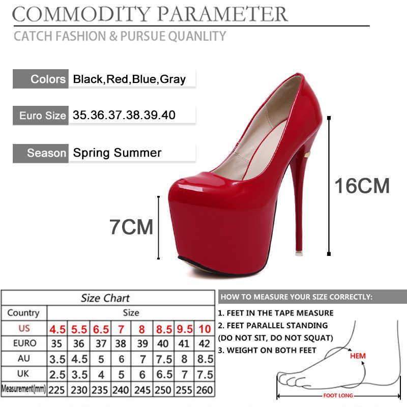 BYQDY เซ็กซี่ปั๊มแพลตฟอร์มผู้หญิงสูง Stiletto ส้นสูง 16CM รองเท้ารอบ Toe Glitters เลื่อม PARTY เจ้าสาวแต่งงานสีแดงรองเท้า