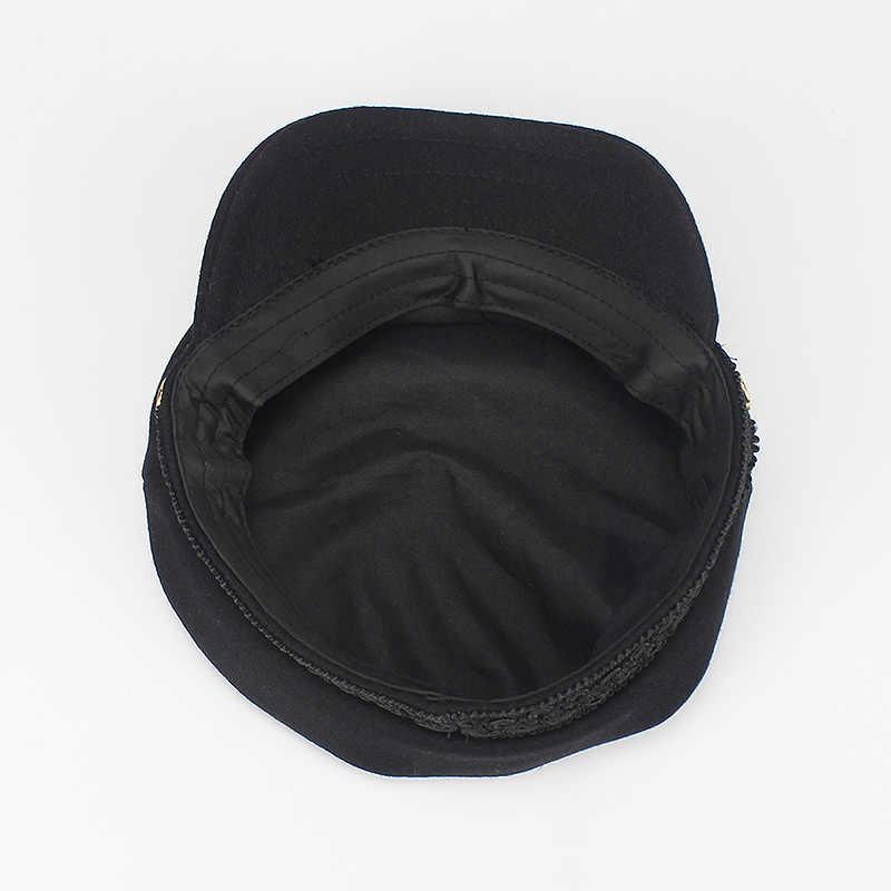 715ff452 ... Army Military Hat Cap Women Fall Autumn Winter lace Hats Black Korean  Literary British Military Hats ...