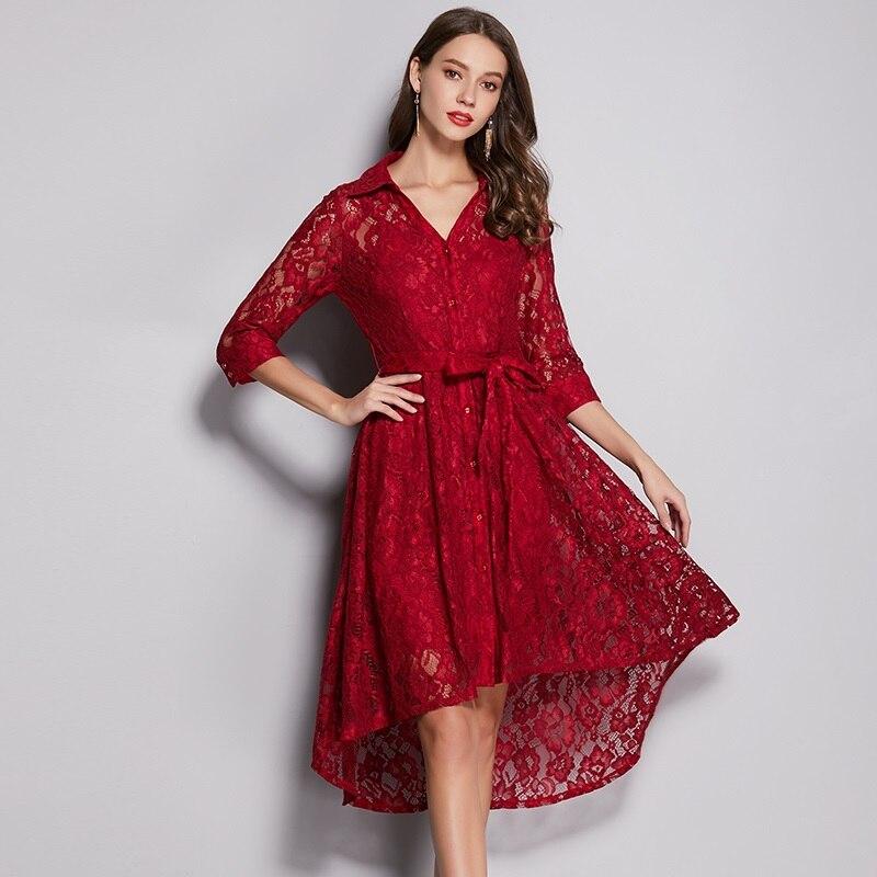 Vestido elegante de encaje de Primavera Verano 2019 talla grande cuello en V Alto y Bajo diseño asimétrico elegante vestido de encaje de mujer con faja cinturón - 2
