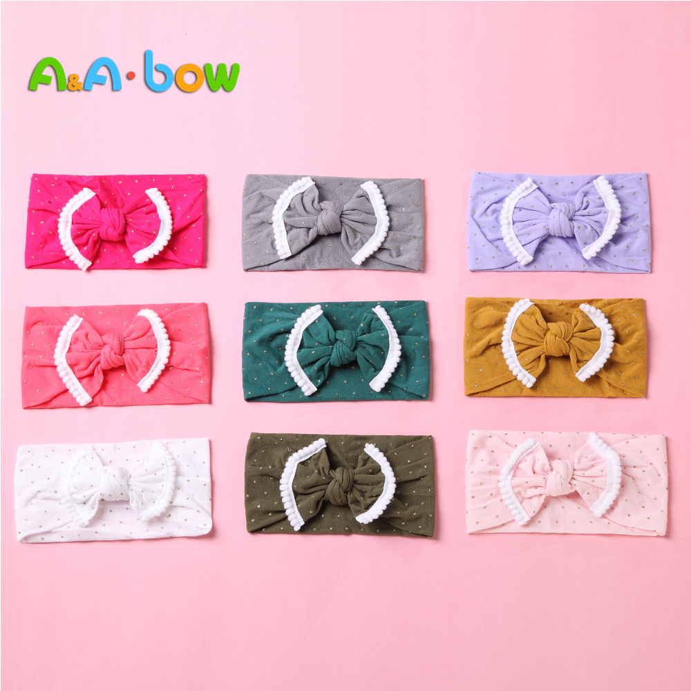 1pcs Baby Bow Colorful Girl Headbands Children Turban Headwear with Bows for Newborn Party Nylon Hair Accessories 18 Colors