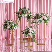 PATIMATE Metal Flowers Vase Column Stand Wedding Centerpieces Rack Pillar Road Lead Event Party Decoration Decor