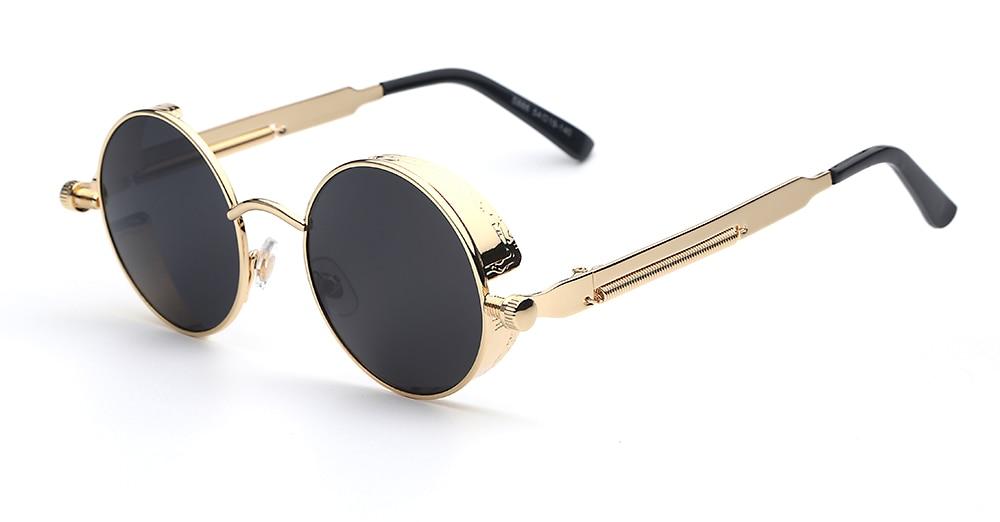 SUNKISS Vintage Steampunk Pink Mirrors Round Retro Sunglasses Women Classic Brand Sunglasses Men UV400 Gold Gafas De Sol Mujer
