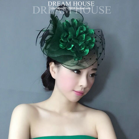 Green Feather Dotted Mesh Fascinator Floral Veil Wedding Hat Hairgrips For Bride Ladies Royal Tea Party Fashion Hair Ornaments
