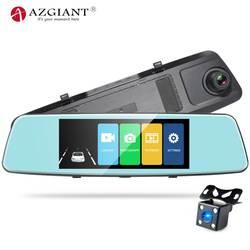 """AZGIANT 6,86 """"2.5D Cuved зеркальный сенсорный экран звездный свет; ночное зрение автомобильный поток камера заднего вида 1080 P видеорегистратор"""