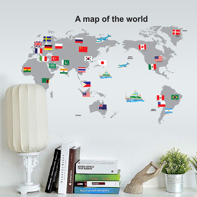 Wall sticker large colorful world map sticker educational kids room wall sticker large colorful world map sticker educational kids room country flags decal for school office gumiabroncs Choice Image