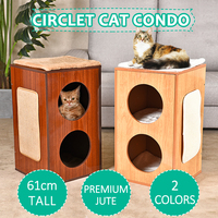 New Design Multifunctional Creative Modern Square Cat Climbing Furniture Brown Beige Animals Play House With Scratching