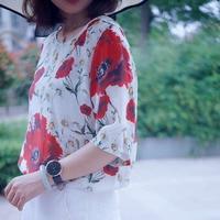 Ladies 100 Silk Poppy Flower Print Short Sleeve O Neck Women Zipper T Shirt Spring Summer