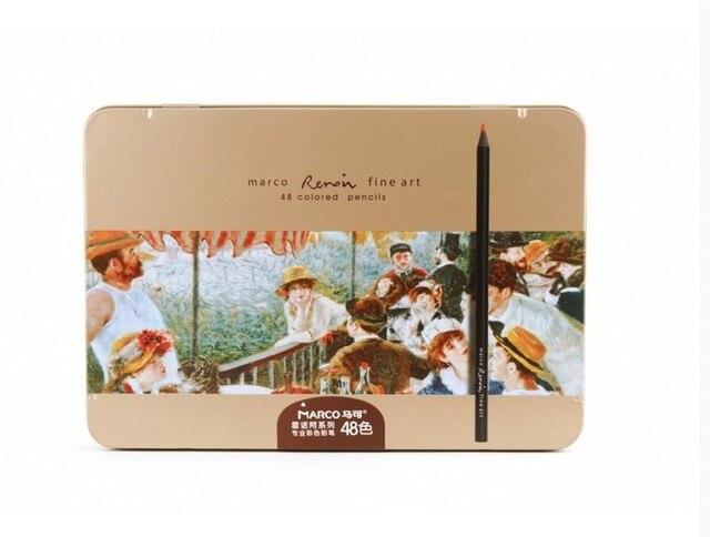 [Top Quality] Lápis MARCO 3200 RENOIR Série de Lápis de Madeira Preta 24/36/48 Cor de Ferro caixa de Lápis Pastel de Óleo