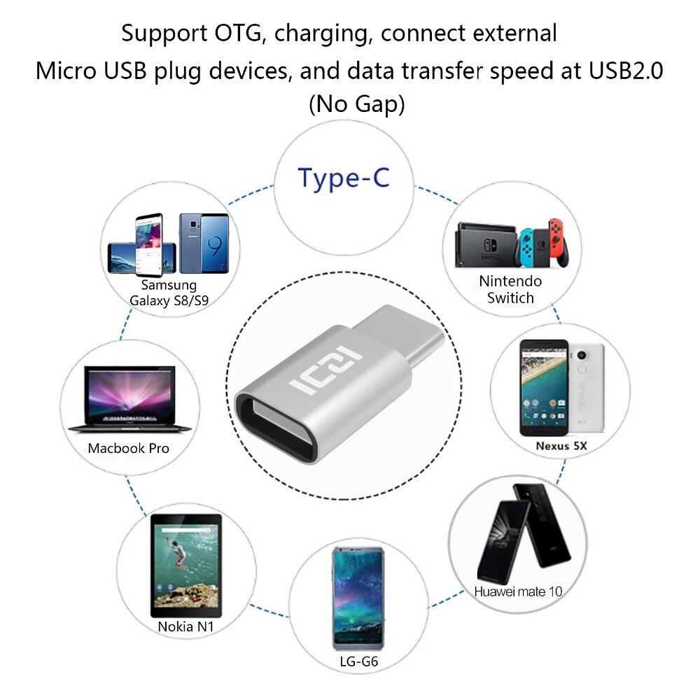 IZCI USB 3.1 Type C Male to Micro USB Female Adapter + USB 3.1 Type C Male to USB 3.0 Female Converter (four colors)