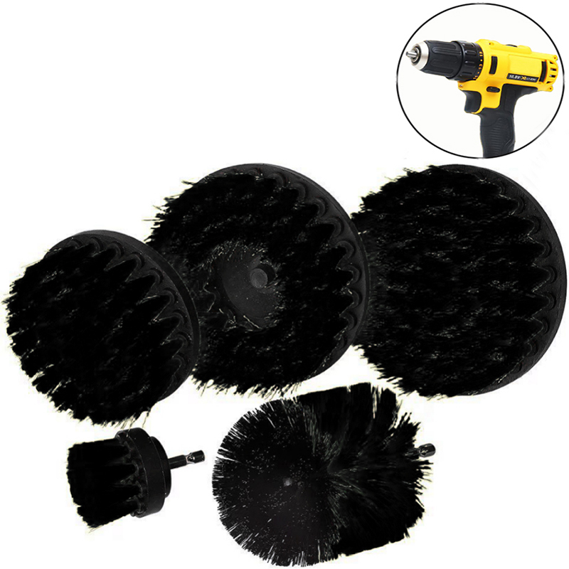 2 3.5 4 5 Inch Solid  Hollow Drill Power Scrub Clean Brush For Leather Plastic Wooden Furniture  Cleaning Power Scrub,  Black