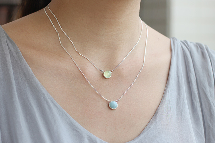 Acecare  Silver Necklace Female Silver Jewelry Original Dust Of Time Blue Jade Chalcedony Moonstone Sea Blue Treasure Vineyard