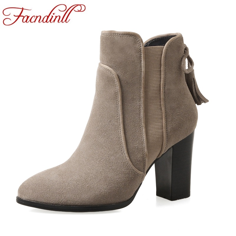 FACNDINLL new autumn winter genuine leather women ankle boots high heels round toe shoes woman dress party casual riding boots front lace up casual ankle boots autumn vintage brown new booties flat genuine leather suede shoes round toe fall female fashion