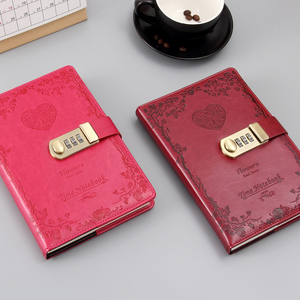Image 2 - A5 password lock notebook 4 colors retro gold lock girl thickening personal diary book with lock office password book custom