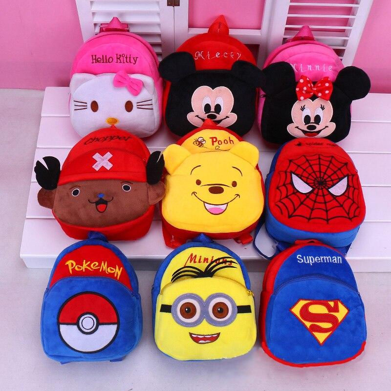 2018 Burst lovely bag plush bag baby backpack cartoon backpack baby bag Spiderman&Captain America&Mickey Minnie doll backpack