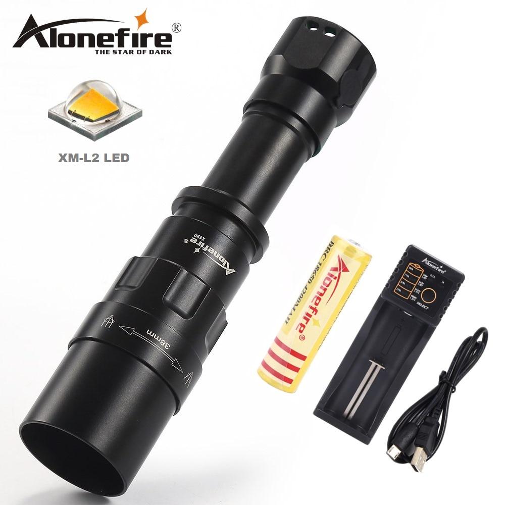 AloneFire X490 led flashlight CREE XM L2 18650 linterna led torch outdoor lighting camping light