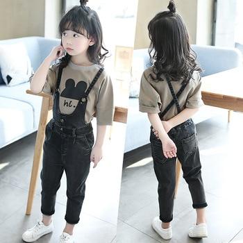 Autumn New Pattern Girl Range Child Street Wind Cowboy Salopettes Cartoon T-shirts Suit 2 Pieces Kids Clothing
