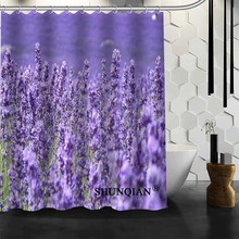 New Bathroom Curtains Lavender Shower Curtain Customized Waterproof Polyester Fabric For