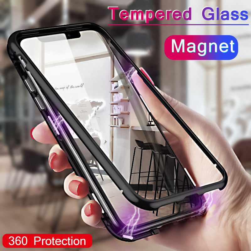 Magnetic Adsorption Case For Samsung Galaxy S9 S8 Plus Note 9 8 For iPhone XR Xs Max 7 6 6S 8 Plus X Tempered Glass Flip Case iphone xr case magnetic