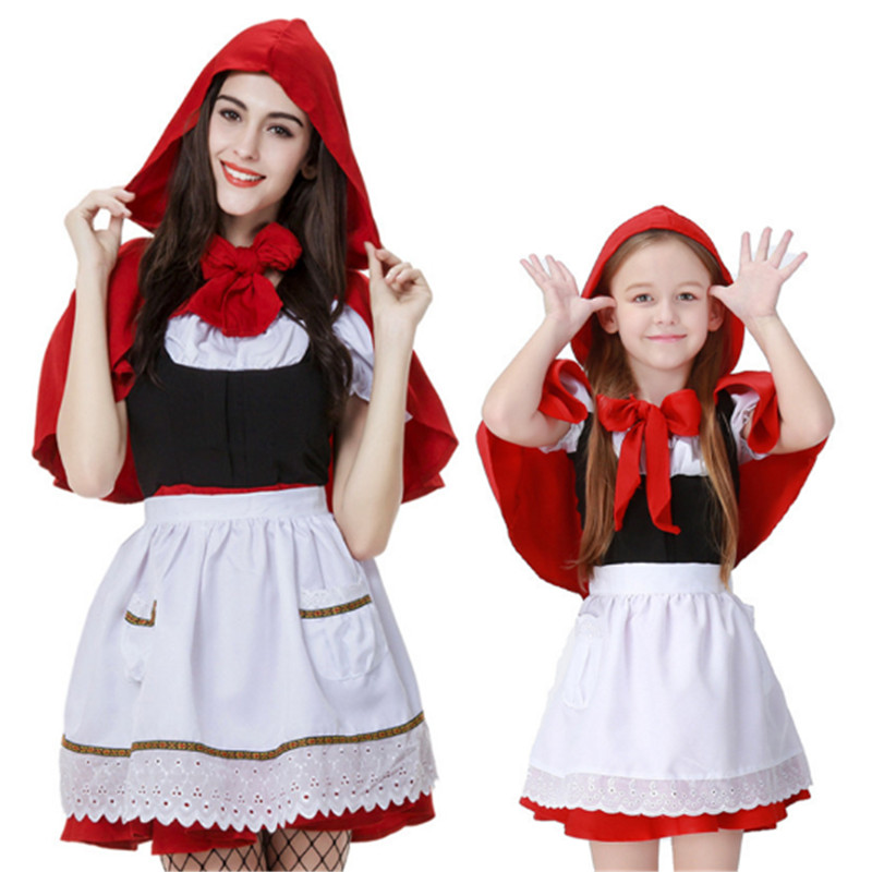 Little Red Riding Hood Costume Halloween for Women girl child parent-child Maid clothing princess Cosplay Mother Daughter Dress