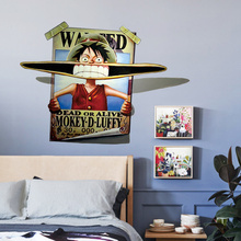 One Piece Figure Luffy Anime Cartoon Wall Sticker For Kids Rooms Wall Paper Decal Children Kids Room Mural Home Decor Poster