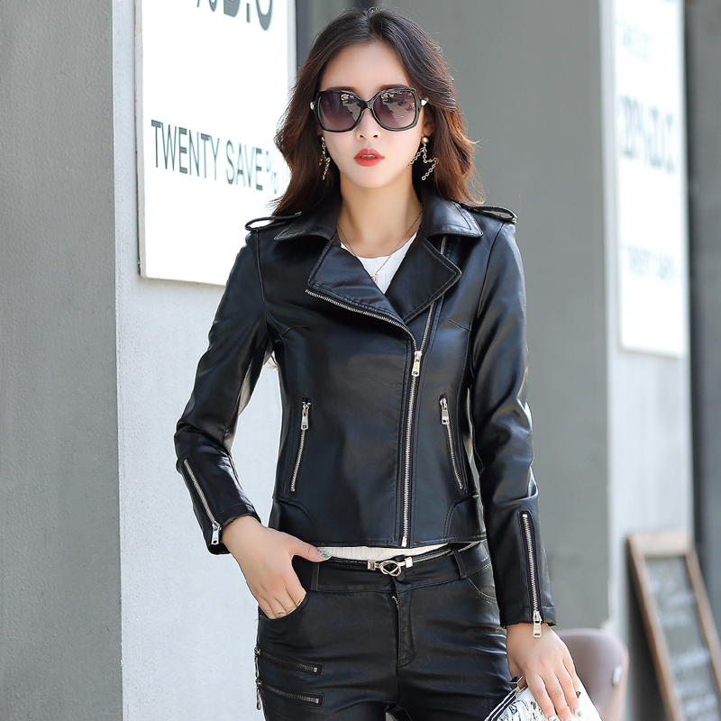 Womne's Fashion   Leather   Jacket M-5XL Plus Size Turn Collar Solid Coat Female   Leather   Jacket Women Black Date Red 2017 Winter New