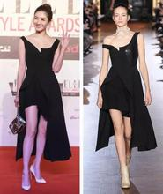 Vestidos Paris Fashion Week All Black Look Women Runway Off The Shoulder Asymmetric Dress