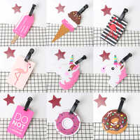1PC Attractive Unicorn Travel Accessories Boarding Tag Fruit Luggage Tag Label Cartoon Silica Name Address ID Holder Suitcase
