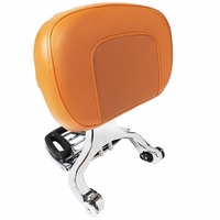 Chrome Multi Purpose Adjustable Driver&Brown Passenger Backrest For Harley Touring Dyna Sporster Honda Kawasaki