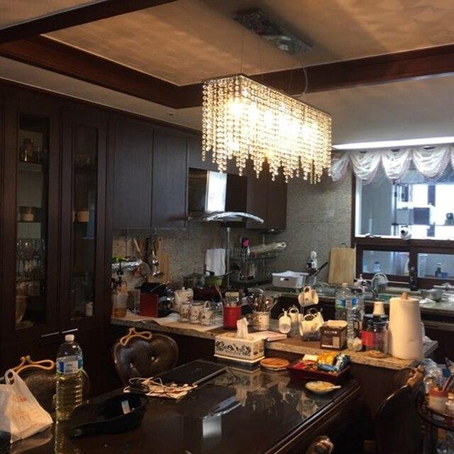 Cristal colgante cocina lámpara colgante comedor moderno LED luces ...