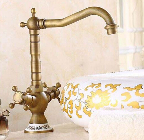 Free shipping Antique Bronze Finish 360 Degree Swivel Brass Basin Faucet Bathroom Basin Sink Mixer Bath& kitchen taps Faucet antique bronze 360 degree swivel brass faucet bathroom basin sink mixer bath taps faucet dual cross head handle home decoration
