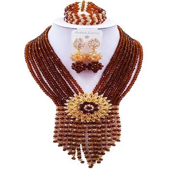 Nice Brown Champagne Gold AB African Women Crystal Bridal Jewelry Sets 8C-SK-04