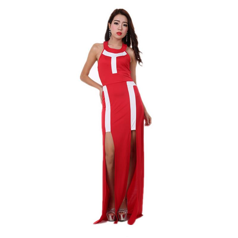 Red summer sleeveless silk O neck high waist leakage back dress fashion pure color Slim lady
