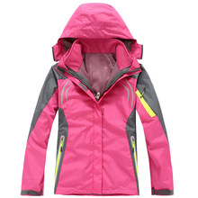 2016 Women hiking Clothing Outdoor Sport Windbreaker Skate Rain Coat Winter Ski Tech Fleece Softshell Wateroproof Jacket 3in1