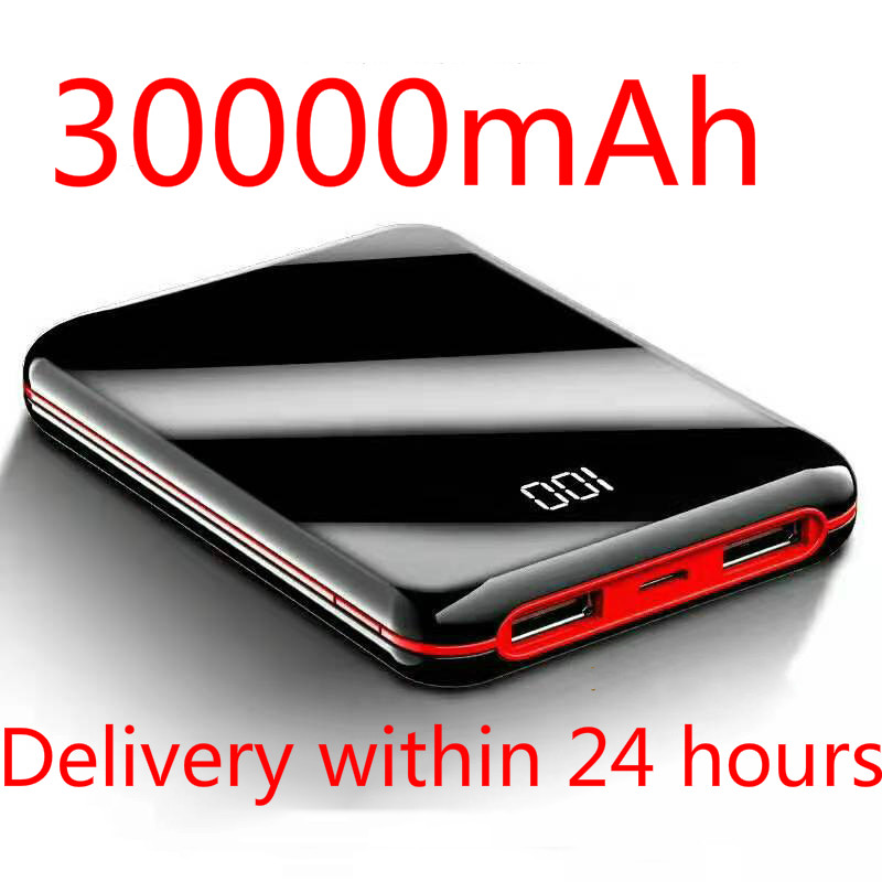 SOODOO 30000mah Power Bank External Battery PowerBank 2 USB LED Powerbank Portable Mobile Phone Charger for Xiaomi MI Iphone 8 X(China)